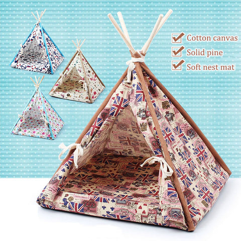 SUPER SD PETS Dogs and cats out nest pad pet supplies Four seasons real wood bracket canvas folding pet tent litter