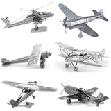 DIY Null 3D Metal Puzzle Mini  Aircraft Fighter Building Model World Famous Architecture Paris Tower Adult Jigsaw Education Toys