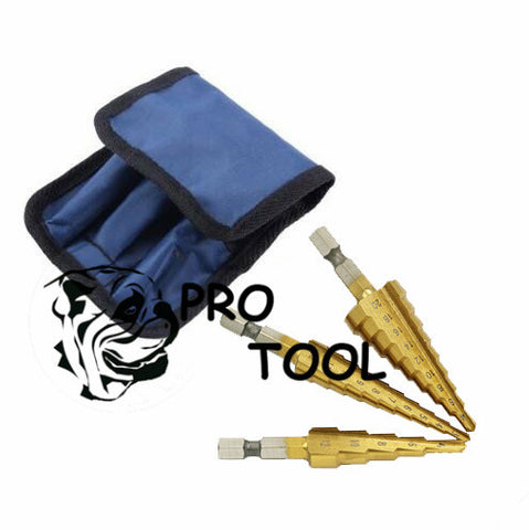3Pcs/lot HSS Steel Large Step Cone Titanium Coated Metal Drill Bit Cut Tool Set Hole Cutter