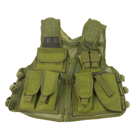 Mesh Breathable Airsoft Tactical Vest Military Molle Combat Assault Mag Holster Vest Army Green