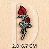 1 PCS Rose Embroidered Iron on Patches for Clothing DIY Stripes Clothes Patchwork Sticker Custom Flowers Applique @Z 1-11