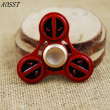 (AOSST) Deadpool Metal Hand Spinner Fidget Spinner Finger Spinner Tri-Spinner Stress Wheel Fidget Toy