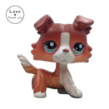 LPS Brown White Collie Dog #1542 Blue Eyes Puppy Pet Shop Kids Toys