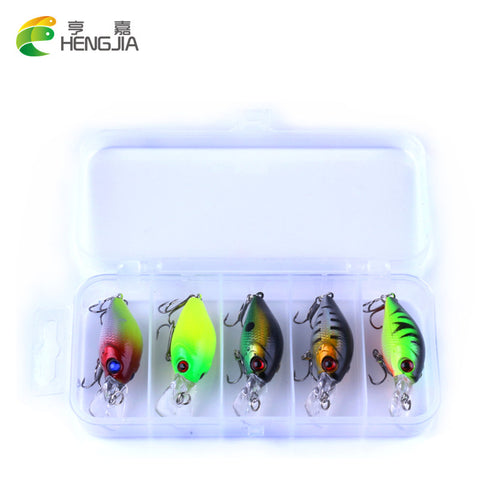 HENGJIA 5pc 4.2g Fishing Lure Kit Minnow floating Lure Isca Crankbait Bait Pesca Jig Fishing Hook Set With Fishing Tackle Box