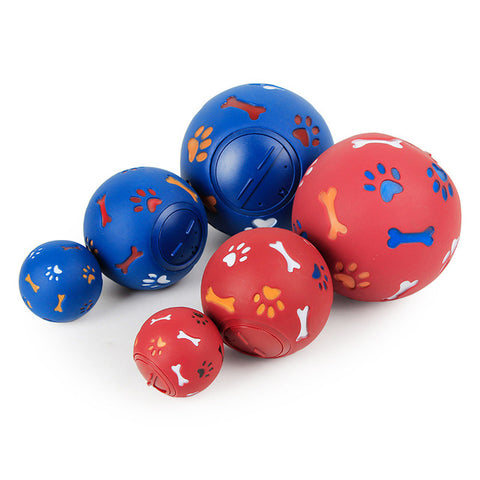 3 Size Educational Interactive Pet Dog Toys Rubber Ball Puppy Chew Toys Paw Bone Print Dog Treats Dispenser