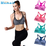Dropshipping Womail 2017 Sexy Bikini Women Sport Bra Running Gym Yoga Fitness Padded Tank Tops Stretch Workout