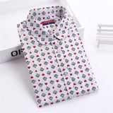 Dioufond Cotton Print Women Blouses Shirts Work Collar Office Ladies Tops Casual Cherry Long Sleeve Shirt Women Fashion Clothing