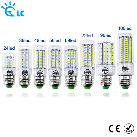 LED lamp Bulb E27 E14 Candle Light Bombillas 220V SMD 5730 Home Decoration Lamp for Chandelier Spotlight 24 36 48 56 69 106LEDs