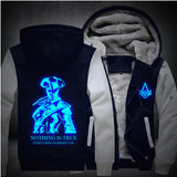USA size Men Women Assassins Creed Luminous Jacket Sweatshirts Thicken Hoodie Coat Clothing Casual