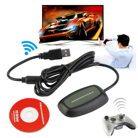 1 Sets Black/white USB 2.0 PC Wireless Controller Gaming USB Receiver Adapter For Microsoft for XBOX 360 with a CD