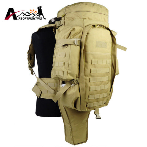 Tactical Molle System Extended Full Gear Dual Rifle Backpack Military Paintball Hunting Camping Gun Bag Case