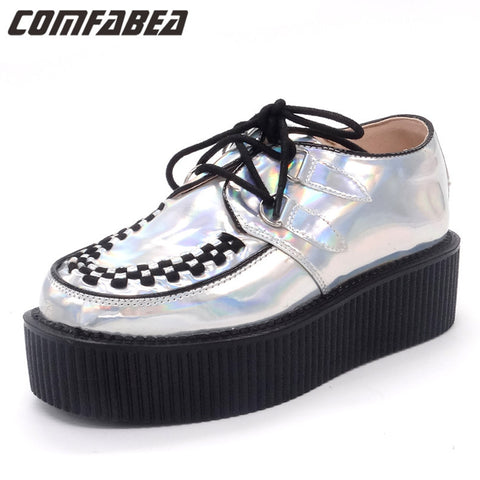 Fashion Silver Spring Autumn Shoes Laser Hologram Women Goth Punk High Platform Flat Creepers Shoes For Women HARAJUKU Creeper