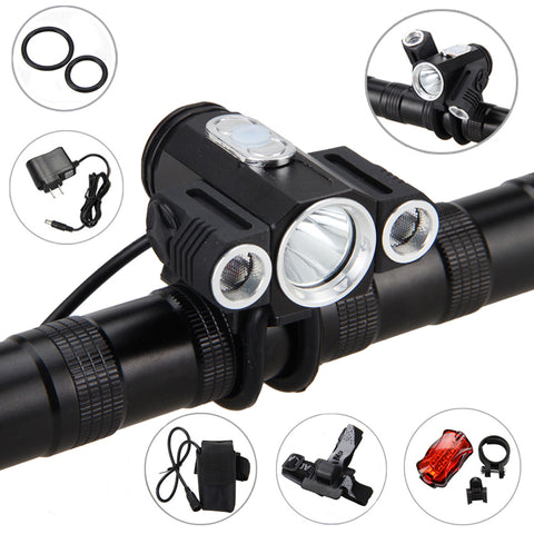 10000LM 3x XML T6 LED 4.2v Adjust angle Front Bicycle light Bike Lamp Headlight with Battery+Back Tail Light
