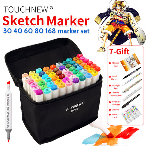 TOUCHNEW 30/40/60/80 Colors Art Marker Set Alcohol Based Copic Sketch Marker Pen For Drawing Manga Design Art Set Supplies