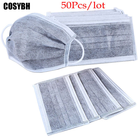 50Pcs/lot 4-layer activated carbon anti fog dust disposable masks