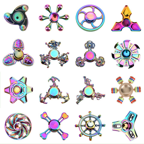 Metal Tri-Spinner Fidget Spiner Toy Creative Colorful EDC Hand Spinning Toy For Autism Rotation Time Long Anti Stress Toys