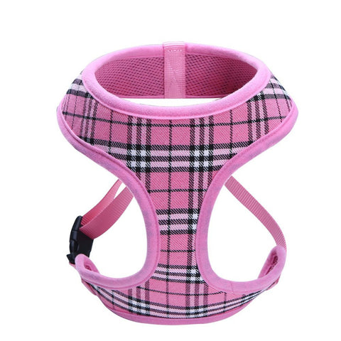 Classic Plaid Adjustable Soft Breathable Dog Harness Cat Control Nylon Mesh Vest harness for Pet puppy Soft Chest Strap