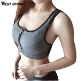 WEST BIKING Professional Yoga Bras Adjustable Strap Shockproof Fixed Push Up Underwear Vest Women Fitness GYM Zipper Sports Bras
