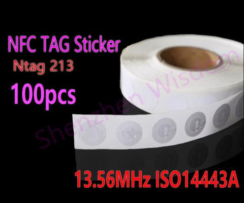 100pcs NFC Tags 13.56MHz ISO14443A NFC Sticker 25mm Ntag213 RFID NFC tag Stickers For All NFC Phone