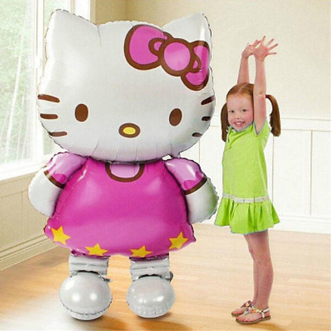 1PC 110*65cm large cartoon KT cat foil balloons kids Birthday Wedding Party decor baby shower air globos inflatable toys balls