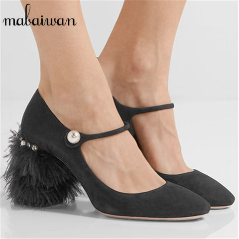 Fashion Paillette Women Pumps Designer Fur Heel Beading Wedding Dress Shoes Woman Pearl Decor Zapatos Mujer High Heels Stiletto