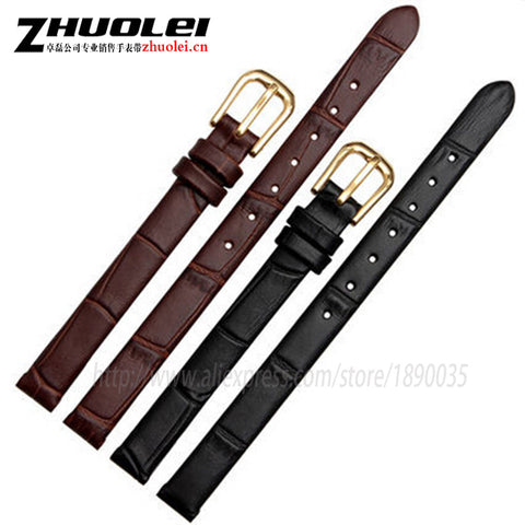 10mm 12mm 14mm 16mm Ladies New High Quality Black Croc Pattern Genuine Leather Watch Band Strap UltraThin