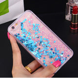 LOVECOM Love Heart Stars Glitter Stars Dynamic Liquid Quicksand Soft TPU Phone Back Cover Case For iPhone 5 5S SE 6 6S 7 Plus