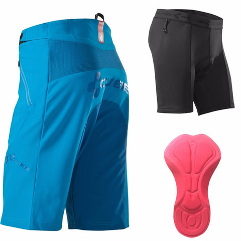 Saenshing MTB Shorts + Cycling Underwear Breathable Gel Padded Mountain Bike Tights Cube Cycling Shorts Bicycle Downhill Briefs