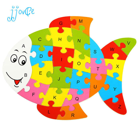 10 Patterns Wooden Animal Alphabet Early Learning Puzzle Jigsaw For Children Kids Educational & Learing Intelligent Toys