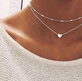 2017 Simple Gold Color Love Heart Choker Necklace For Women Multi Layer Beads Chocker Necklaces collar collier ras du cou femme