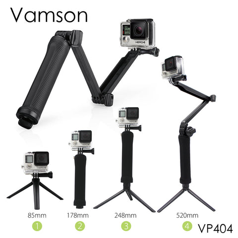 Vamson for Gopro Accessories Tripod 3 Way Monopod Mount Extension Arm Tripod for Gopro Hero5 4 3+ for xiaomi for yi SJ4000 VP404