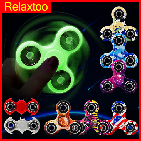 Top Luminous Hand Tri Spinner Glow in Dark EDC Fidget Light Spiner Batman Finger Puzzle Cube Stress Relief Toys for Autism ADHD