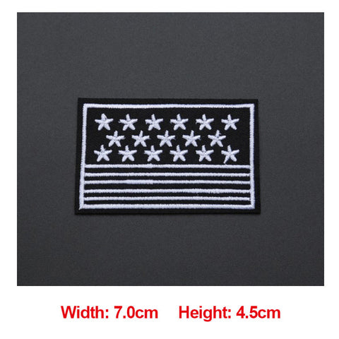 1PC Patches For Clothing Embroidery Black White Badge Ratman/Diamond/Peace/Lightning Patches For Apparel Bags DIY Accessories