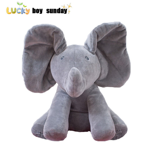 Peek a boo Elephant Plush Toy Electronic Flappy Elephant Play Hide And Seek Baby Kids Soft Doll Birthday Gift For Children