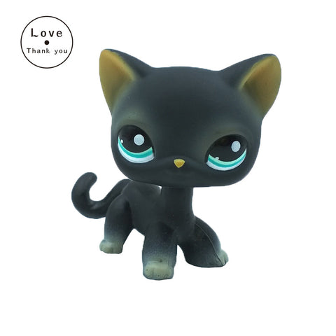 Short Hair Cat LPS #994 animal pet toys European kitty Black kitten with blue eyes