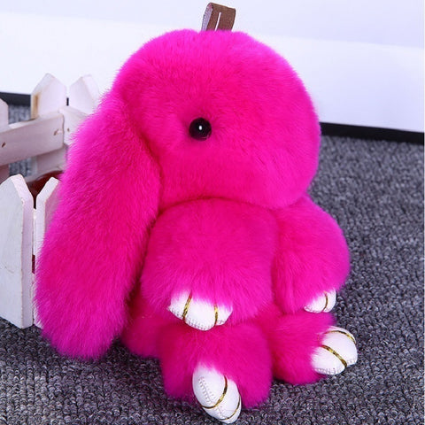 Rabbit Keychain Cute Fluffy Bunny Keychain Rex Genuine Rabbit Fur Pompom Key Ring Pom Pom Toy Doll Bag Charm Car Key Holder