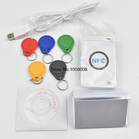 ACR122u NFC Reader Writer 13.56Mhz RFID Copier Duplicator + 5pcs UID Card + 5pcs UID  Tag +SDK + M-ifare Copy Clone Software