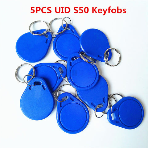5Pcs/lot 13.5MHZ UID Changeable MF S50 1K IC Keys Keyfobs Token Tags S50 NFC Clone Copy Back door Rewritable Blank Magic Card