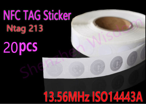 20pcs/Lot NFC Tags Sticker 13.56MHz ISO14443A Ntag 213 NFC Stickers Universal Lable Ntag213 RFID Tag for all NFC enabled phones