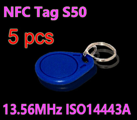 5pcs/Lot RFID Tag 13.56MHz S50 NFC Tags Key Tags Keyfobs Token Re-writable NFC Tag Keychain For Access Control System