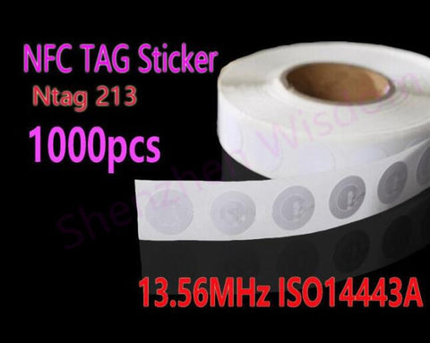 1000pcs/Lot NFC Tag Stickers Ntag213  RFID Tag 13.56MHz ISO14443A NFC Sticker Universal Label for all NFC phones