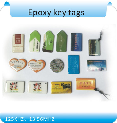 Free shipping  10 pcs Epoxy Card /Epoxy key tags NFC logo printed 13.56mhz rfid tag keyfobs(Compatible with s50)