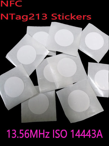 10pcs NFC Tag Sticker 13.56MHz ISO14443A Ntag 213 NFC Stickers Universal Lable Ntag213 RFID Tag for all NFC phones