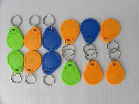 No 3 : 100pcs/lot 13.56MHz RFID IC Key Tags Keyfobs Token NFC TAG Keychain For Arduino(Blue, red, yellow)