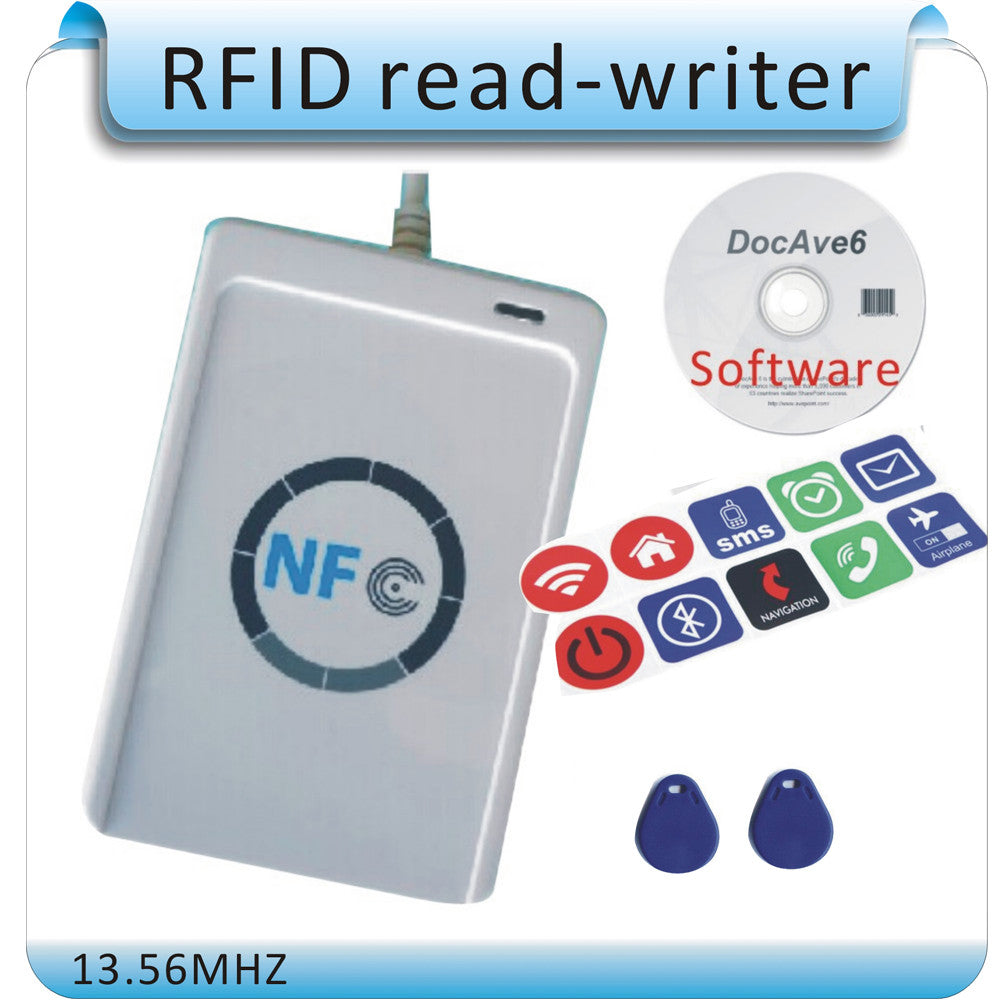 Free shipping 10PC NFC tag + ACR122U 13 56MHZ NFC Tags RFID copier/ IC card  Reader & Writer + 1 SDK CD + 2 Pcs UID(IC) cards