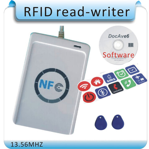 Free shipping 10PC NFC tag + ACR122U 13.56MHZ  NFC Tags RFID copier/ IC card  Reader & Writer + 1 SDK CD + 2 Pcs UID(IC) cards