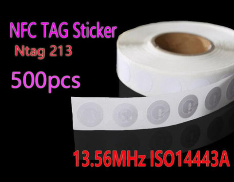 500pcs NFC Tag 13.56MHz ISO14443A Ntag 213 NFC Sticker 25mm Ntag213 RFID NFC Tags Stickers For All NFC Phone