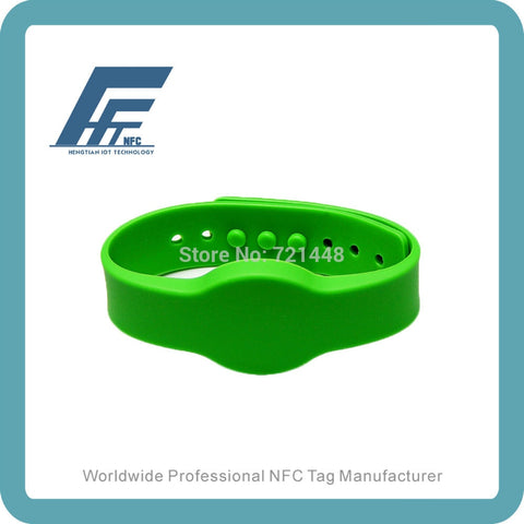100pcs NFC Silicone Wristbands Green Adjustable Silicone Wristbands Tag NTAG213