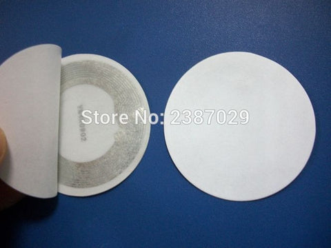 Factor Direct Sale 13.56Mhz 25mm Diameter Round White NFC Sticker/tag RFID Label for Access Control System 1000pcs/lot