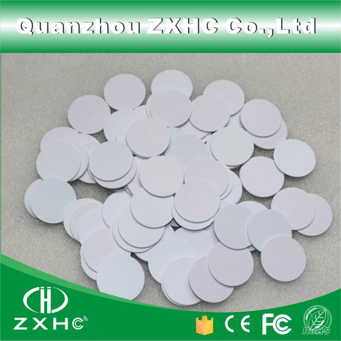 (100pcs/lot) Round Shape 25mm NFC Tag Ntag216 888 Bytes PVC Coin Cards Used For Android,IOS And All NFC Phone